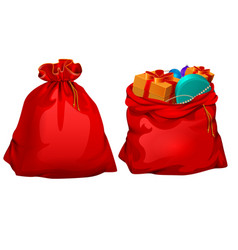 full gift open and closed santa claus red bag vector image vector image