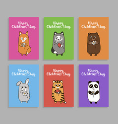funny animals cards for childrens day vector image