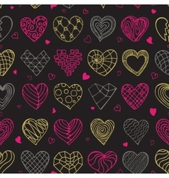 Hand drawing hearts doodle seamless pattern vector image vector image