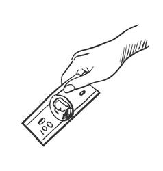 Hand giving money doodle vector