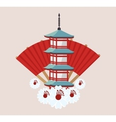 Japanese culture architecture icon vector