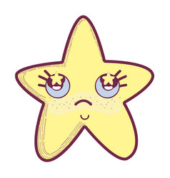 Kawaii star thinking with cheeks and stars inside vector
