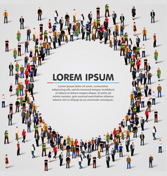 Large group of people in the circle shape vector