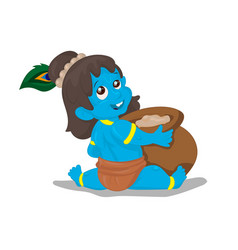 Little krishna cartoon on a white vector
