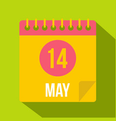May 14 calendar icon flat style vector