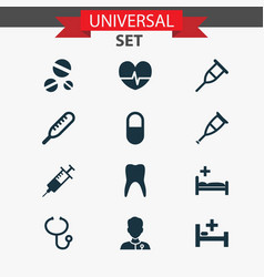 Medicine icons set with healer dental pellet and vector