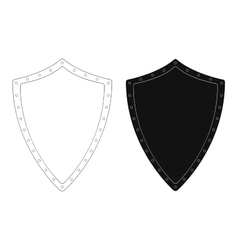 Medieval knight shield with rivets Contour vector image