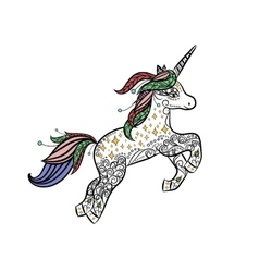 Mythical unicorn in a magical animal doodle style vector