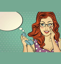 red-haired woman with glasses gossip at retro vector image