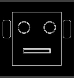 Robot head white color path icon vector