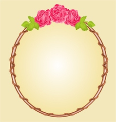 Round frame with roses greeting card vector image vector image