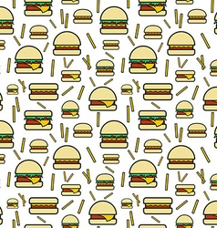 Seamless pattern of burgers and fries on white vector image vector image
