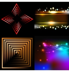 Set of colorful abstract background with blurred vector image