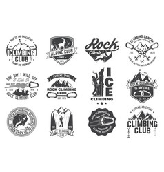 set of rock climbing club badges with design vector image vector image
