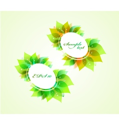 Set of round banners with spring leaves vector