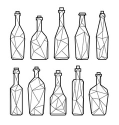 Set of triangle alcohol bottles vector