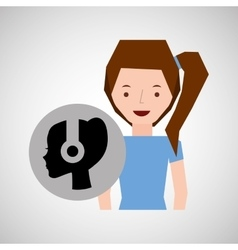Smiling girl music head headphones vector