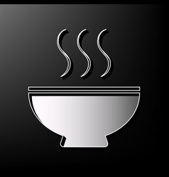 Soup sign gray 3d printed icon on black vector