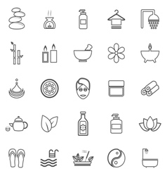 Spa line icons on white background vector