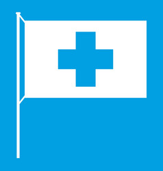 Switzerland flag icon white vector