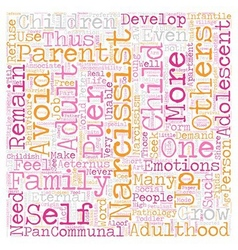 The narcissist as eternal child text background vector