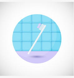 toothbrush with paste flat icon vector image