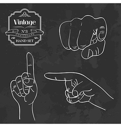 Vintage chalkboard finger pointing vector