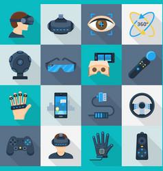 virtual reality cartoon icon flat set vector image vector image
