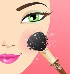 Woman applying blusher vector image vector image