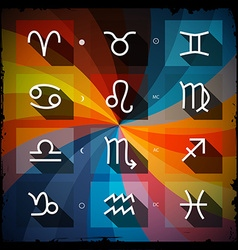 Zodiac - Horoscope Square Icons Set on Grunge vector image