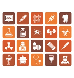 Flat healthcare medicine and hospital icons vector