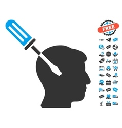 Intellect screwdriver tuning icon with free bonus vector