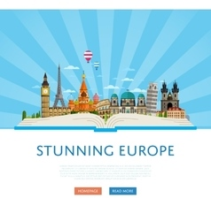 Stunning europe poster with famous attractions vector