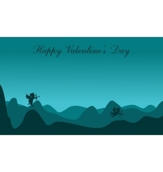 Silhouette of cupid on dessert scenery valentine vector