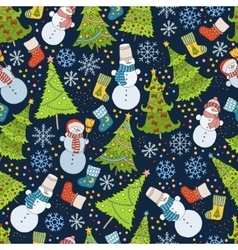 Pattern with Christmas tree snowflake and snowman vector image