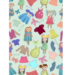 seamless background with children and clothes vector image