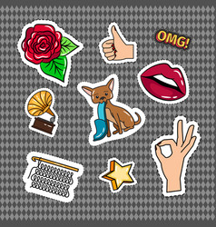 Retro quirky style stickers set vector