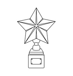Gold prize in the shape of a star on a standthe vector