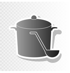 Pan with steam sign  new year blackish vector