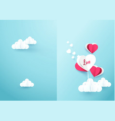 Heart shaped balloons with cloud on soft blue vector