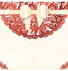 White and red vintage lacy wedding card vector