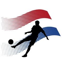 netherlands soccer player against national flag vector image