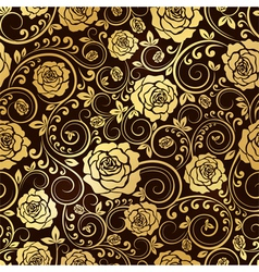 Golden ornament of roses vector