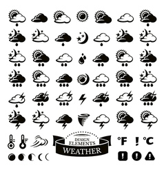 Collection of different weather icons vector