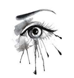 Watercolor female eye on grunge background with vector