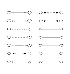 Heart dividers scribble borders vector