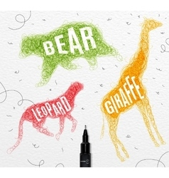 Tangled line bear color vector
