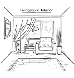 Sketchy of living room interior black hand d vector