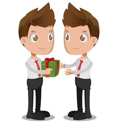 Man give gift oneself cartoon vector