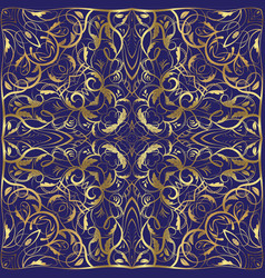 Blue handkerchief with gold ornament vector